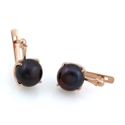 Серьги с черным жемчугом 6.44 г SL-0355-644