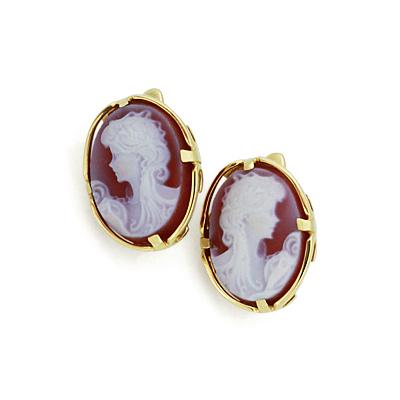 Серьги с розовой камеей 5.8 г SLК-0385-560
