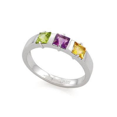 Кольцо с полудрагоценными камнями: зеленым, фиолетовым и оранжевым 3.3 г SL-120-1-308