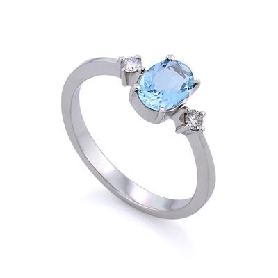 Кольцо с аквамарином и бриллиантами  2.55 г SL-155-250