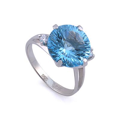 Кольцо с топазом белое золото 4.65 г SL-2112-465