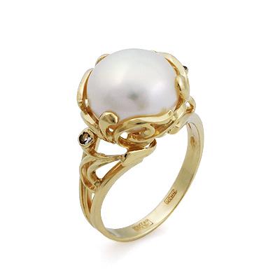 Кольцо из желтого золота с крупным белым жемчугом 8.3 г SL-2120-809