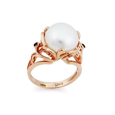 Кольцо с крупным белым жемчугом золотое 8.4 г SL-2120-840