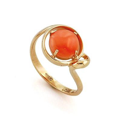 Золотое кольцо с натуральным глубоководным кораллом 3.1 г SL-2125-310