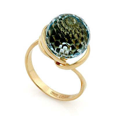 Кольцо с голубым топазом в форме шара 6.37 г SL-2135-637