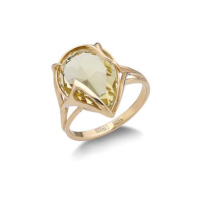 Кольцо с лимонным кварцем из желтого золота 4.9 г SL-2140-490