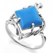 Серебряное кольцо с голубой бирюзой (реконструированной) SL-2200-350 весом 3.5 г  стоимостью 1100 р.