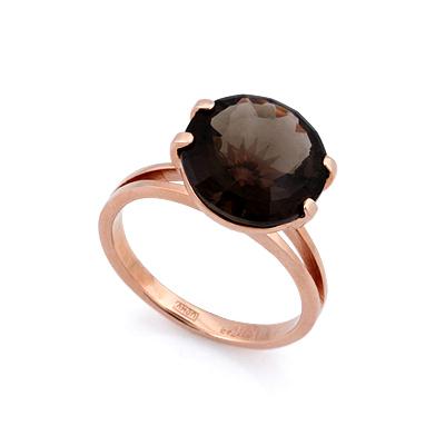 Золотое кольцо с раухтопазом - круг 4.23 г SL-2840-423