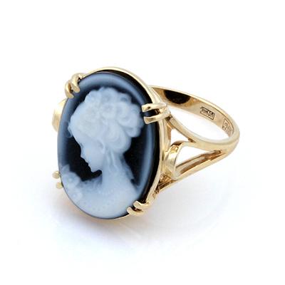 Золотое кольцо камея агат 4.95 г SL-2864-466