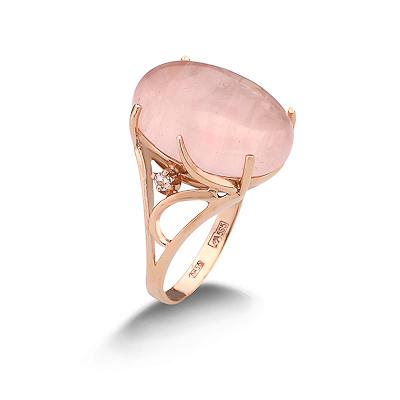 Кольцо с розовым кварцем 6.11 г SL-2869-611
