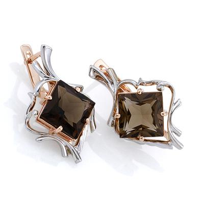 Серьги из золота и серебра с раухтопазом 8.5 г SL-3200-850