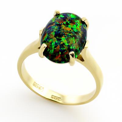 Кольцо с темным опалом (синтетическим) 3.85 г SLK-0241-385
