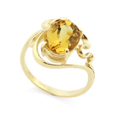 Кольцо с гелиодором в золоте 3.96 г SLK-0280-395
