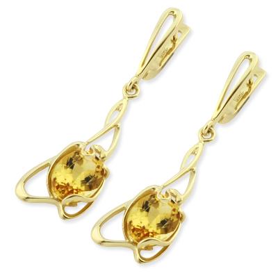 Гелиодор в золоте серьги 6.36 г SLK-0380-631