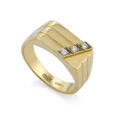 Золотой мужской перстень с бриллиантами / Печатка с бриллиантами в золоте 7.21 г SLV-K139