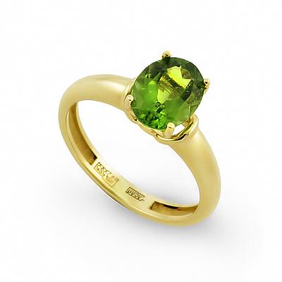 Кольцо с зеленым турмалином 3 г SLY-0231-300