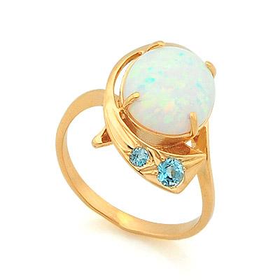 Золотое кольцо с опалом и топазами   4.19 г SV-0363-419