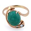 Золотое кольцо с бирюзой огранки кабошон
