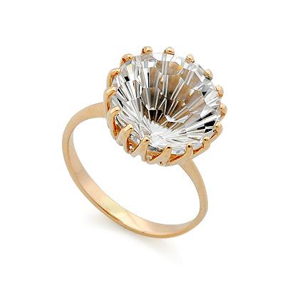 Золотое кольцо с горным хрусталем 4.34 г SV-0401-434 ценой 14752 рублей