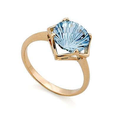 Кольцо с топазом (голубым) 3.43 г SV-0403-343