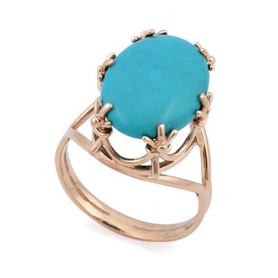 Кольцо из розового золота с бирюзой овал 5.89 г SV-0452-589