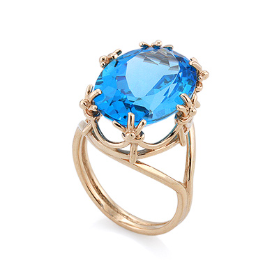 Кольцо с топазом (голубым) 8.49 г SV-0452-849