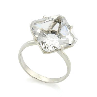 Серебряные кольца с горным хрусталем купить