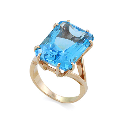 Кольцо с топазом (голубым) 8.97 г SV-0469-897