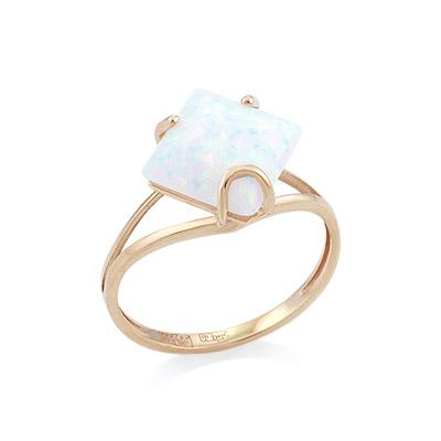 Золотое кольцо с опалом квадрат 2.07 г SV-0530-207