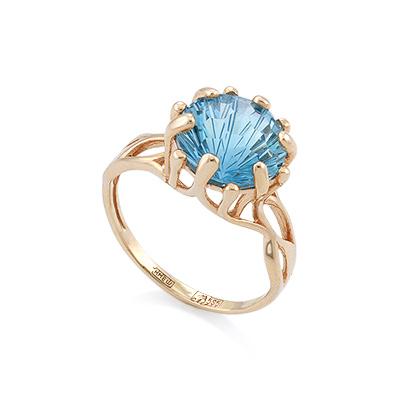 Кольцо с топазом (голубым) 3.44 г SV-0532-344