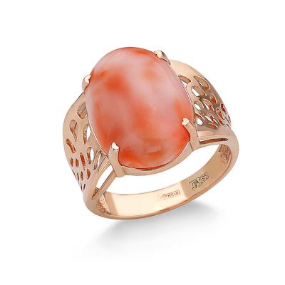 Кольцо с кораллом золотое 5.88 г SV-0566-588