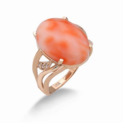 Кольцо с натуральным глубоководным кораллом 5.07 г SV-0567-507