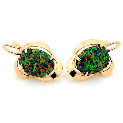 Золотые серьги с зеленым опалом &mdash; <em>синтетическим</em> 9.35 г SV-1475-935