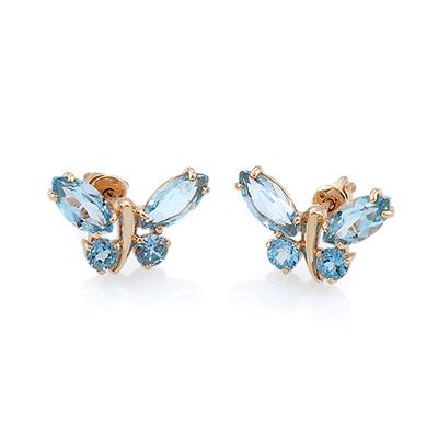 Золотые серьги-пусеты  «Бабочки» с голубыми топазами 2.48 г SV-1521-248