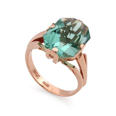 Кольцо из золота <noindex>с кварцем</noindex> &mdash; <em>имитация аквамарина</em> 6.95 г Sl-2187-695