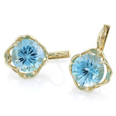 Серьги с голубым топазом золото 8.1 г SL-0363-808
