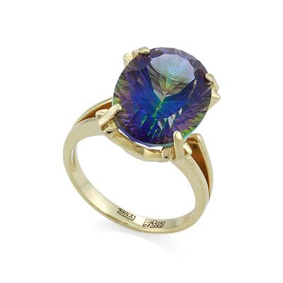 Золтое кольцо с мистик топазом 6.23 г SL-2171-623
