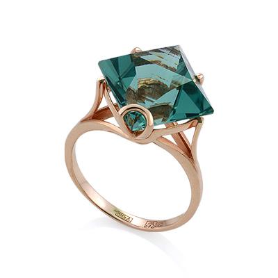 Золотое кольцо <noindex>с кварцем</noindex> &mdash; <em>имитация аквамарина</em> 4.86 г SL-2254-486
